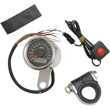 140 Mph Programmable Mini Electronic Speedometers With Odometer/Tripmeter - Front