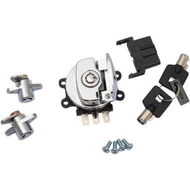 Side hinge ignition switch and saddlebag lock kits
