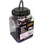 Jar of eyelet connectors-keep with Moose Utility battery chargers