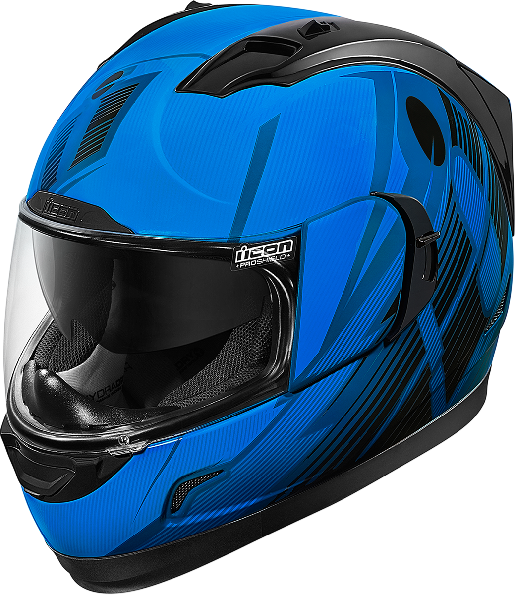 Icon Gloss Blue Primary Alliance GT Motorcycle Drop Shield Full Face Helmet DOT