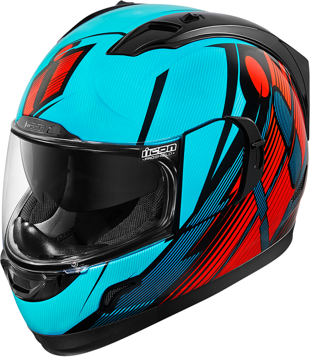 Icon Gloss Blue Red Primary Alliance GT Motorcycle Drop Shield Full Face Helmet