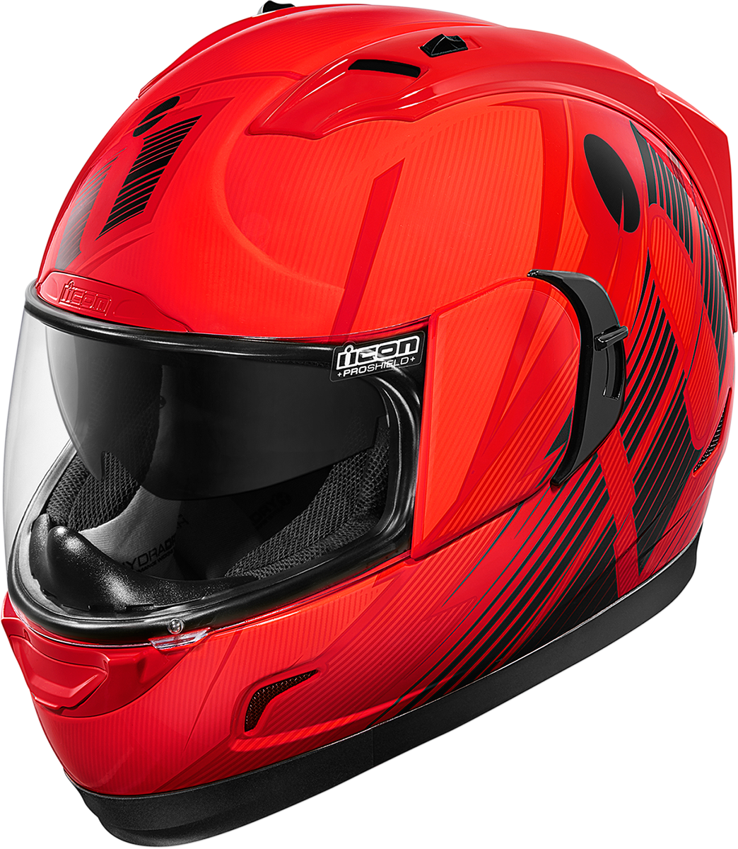 Icon Red Primary Alliance GT Motorcycle Street Drop Shield Helmet CLOSEOUT
