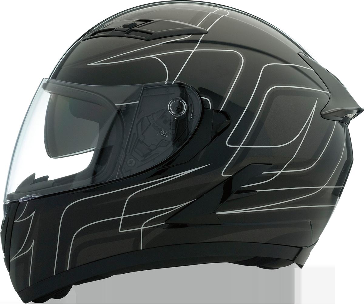 Z1R Unisex Strike ops Black Sliver Full Face Motorcycle Riding Street Helmet