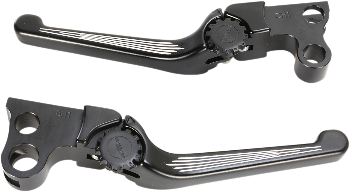 Powerstands Racing Contrast Cut Black Handlebar Lever Set 82-95 Harley Dyna FLHT
