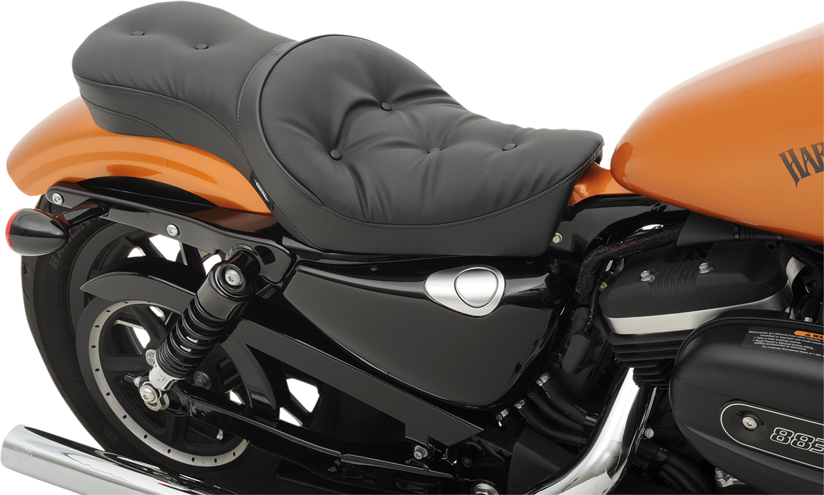 Drag Specialties Black Vinyl Pillow Up Motorcycle Seat - Vinyl for motorcycle seat