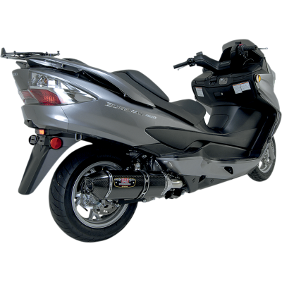 Yoshimura 2007-2013 Suzuki Burgman 400 R77 Full Exhaust System SS / CF CF Tip (1195002)