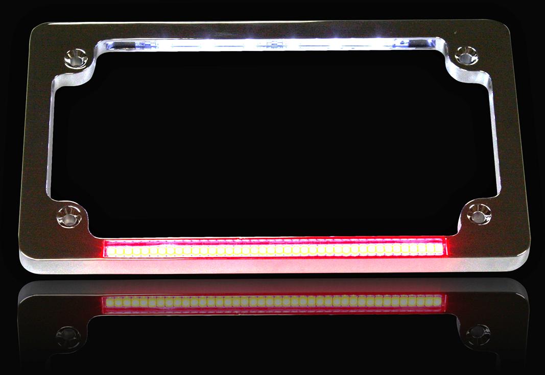 custom dynamics red brake light led chrome motorcycle license plate