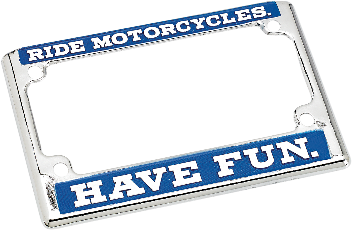 Biltwell Blue Chrome Motorcycle License Plate Frame Harley Davidson ...