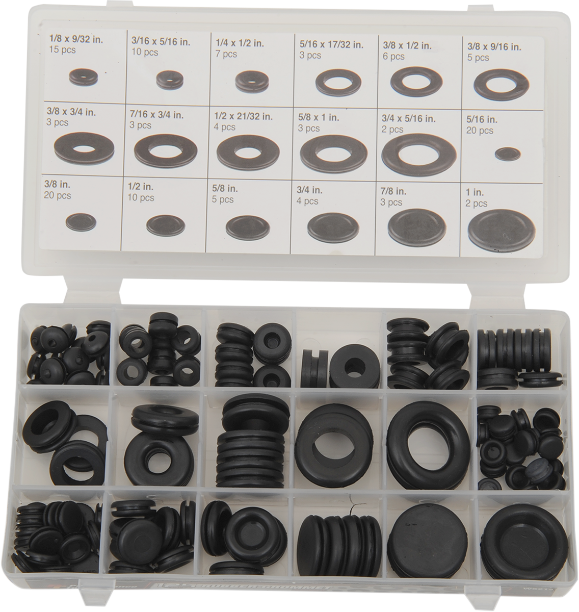 Performance Tool 125 Pack Assortment Black Rubber Motorcycle Grommet Plug Harley