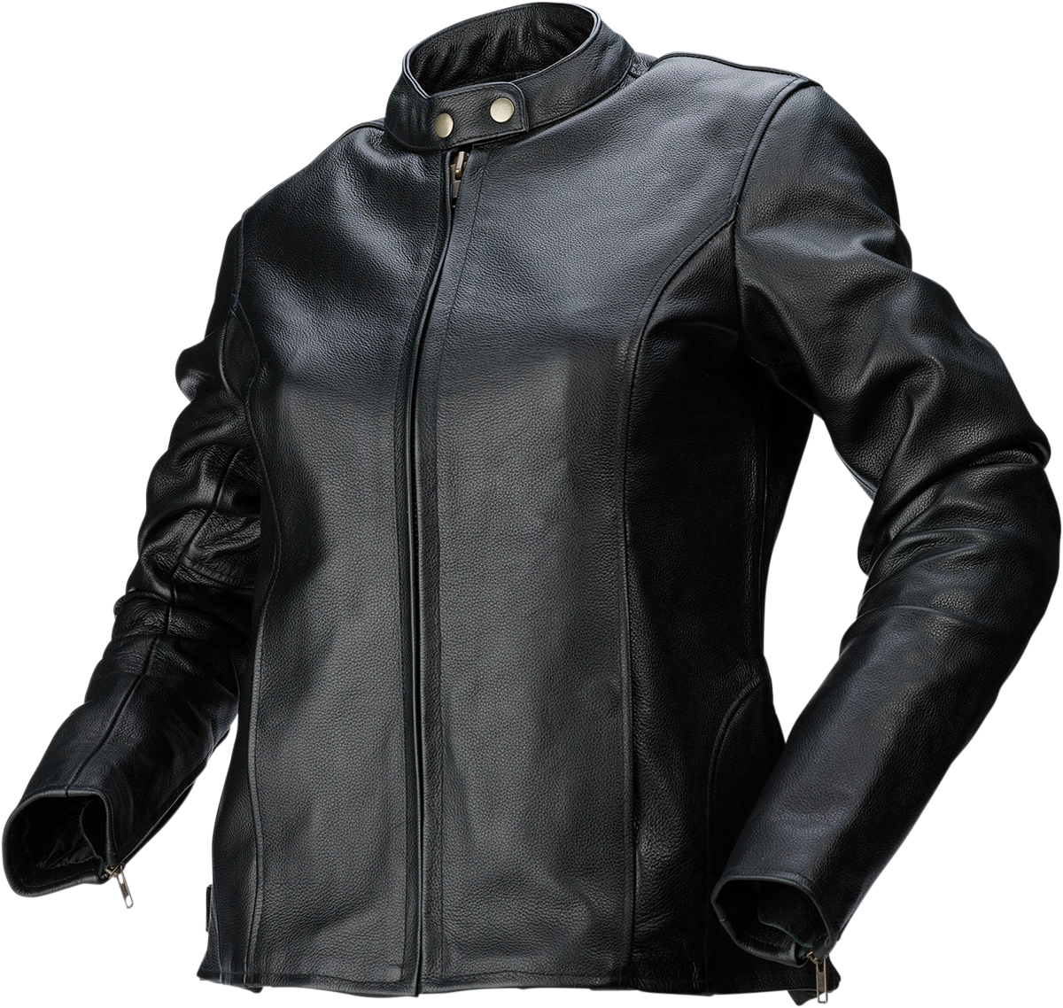 Womens Z1R Black 357 Leather Long Sleeve Motorcycle Riding Street Racing Jacket