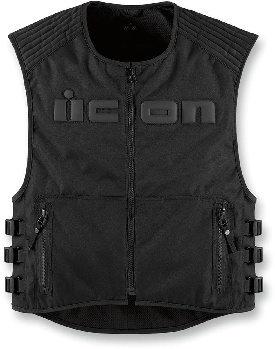 Mens Icon Brigand Black Stealth Motorcycle Biker Riding Street Textile Vest