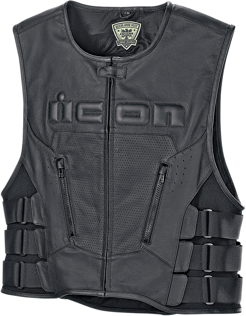 Icon Mens Black Leather Regulator Motorcycle Racing Riding D30 Armored Club Vest