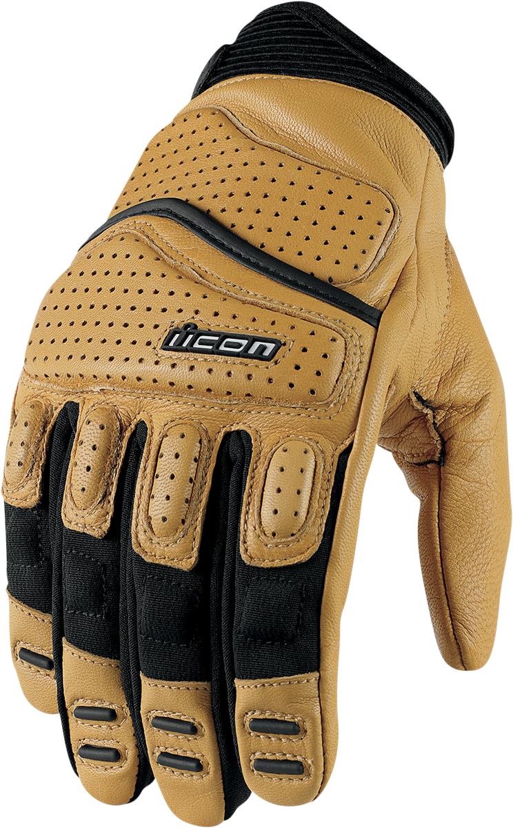 Icon Mens Super Duty 2 tan padded motorcycle gloves