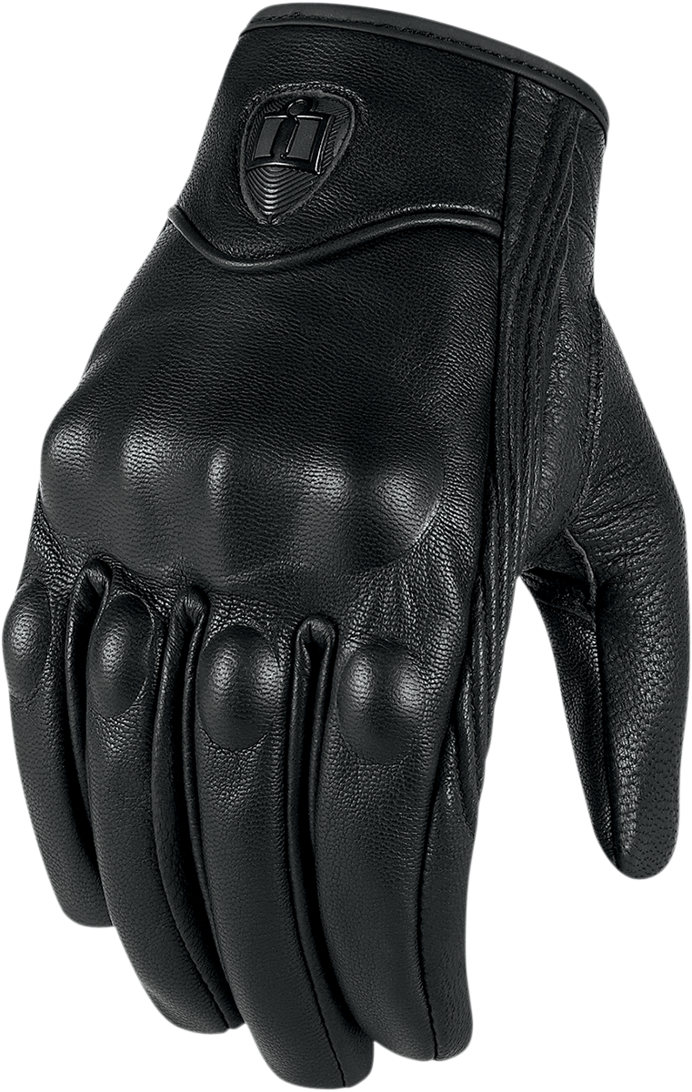 Mens Icon Stealth Pursuit Phone Touchscreen Leather Motorcycle Black Gloves