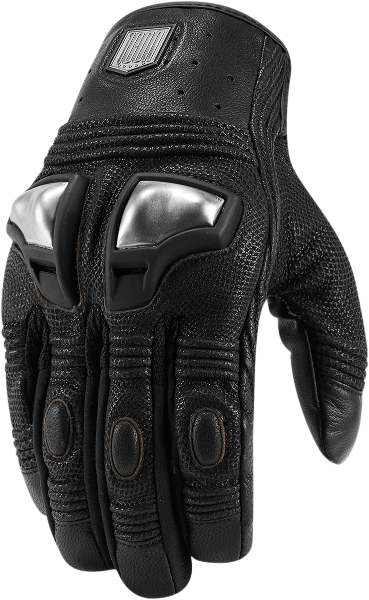 Black riding gloves - Mens Icon Black Leather Retrograde Leather Motorcycle Riding Gloves Harley