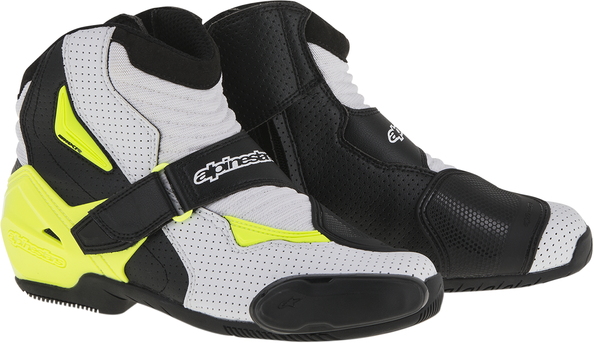 Alpinestars Mens SMX1R Yellow White Black Textile Motorcycle Riding Racing Boots