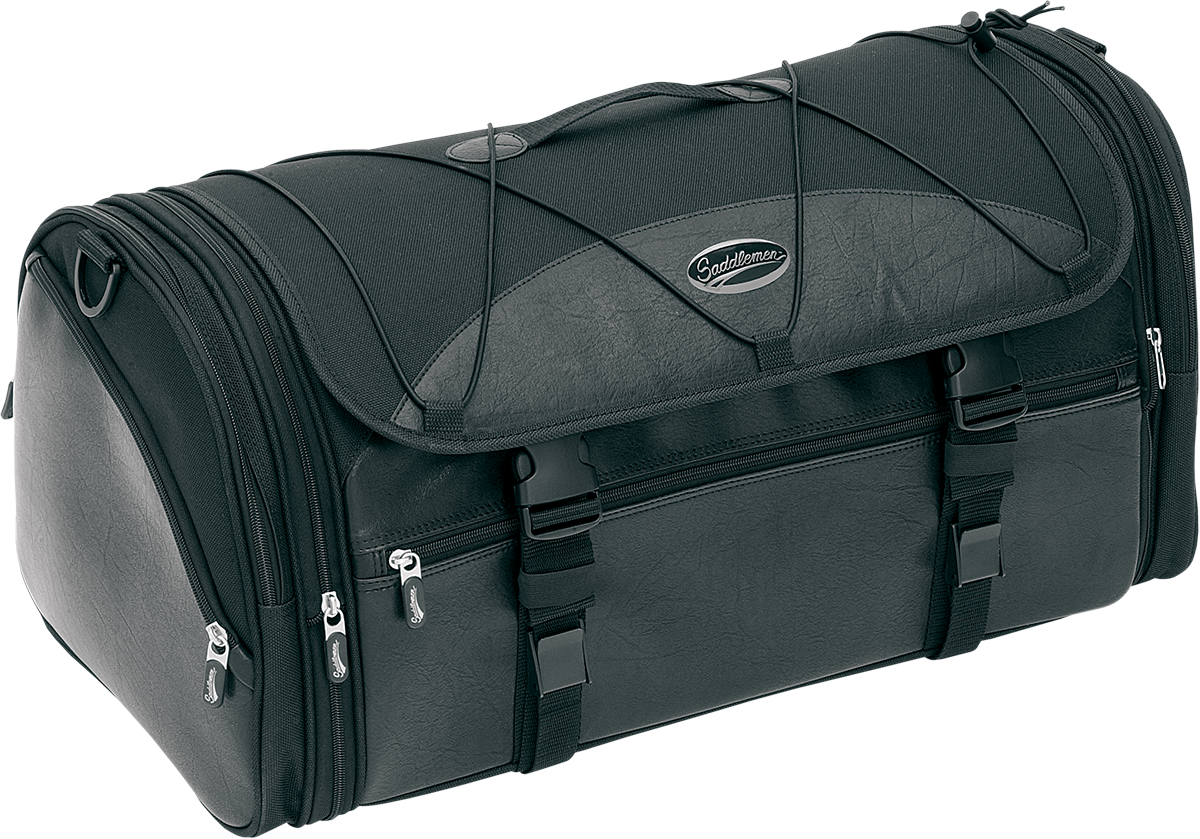 Saddlemen Black Rear Textile Deluxe Tour Pak Roll Bag