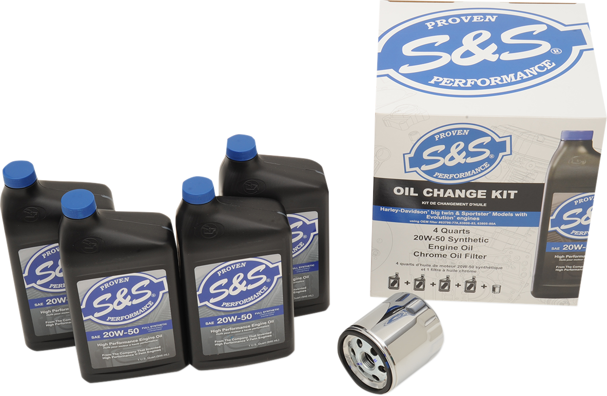 S&S 20W50 Synthetic Engine Oil Change Kit 84-17 Harley Evo Dyna Softail Xl FXR