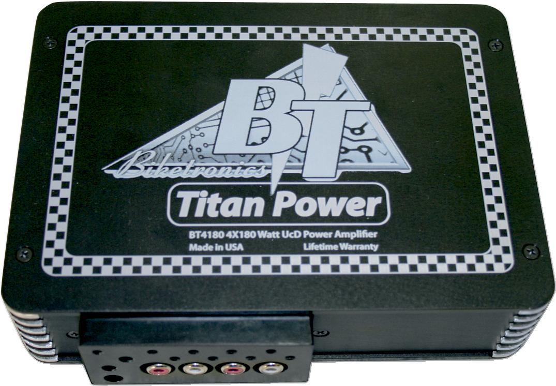 Biketronics 4 Channel 180 Watts Compact Titan Black Motorcycle Amplifier Harley