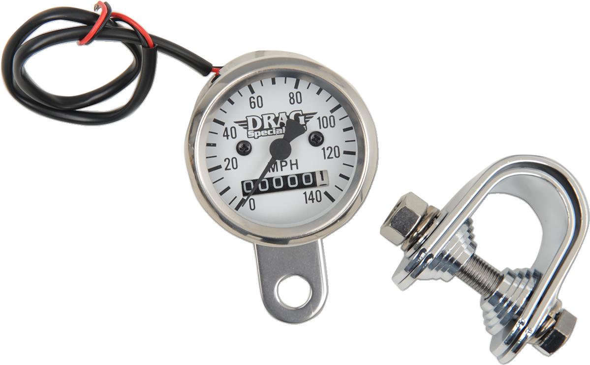 "Drag Specialties 1 7/8"" Mini Speedo 140 MPH Speedometer 2240:60 White Harley XL"