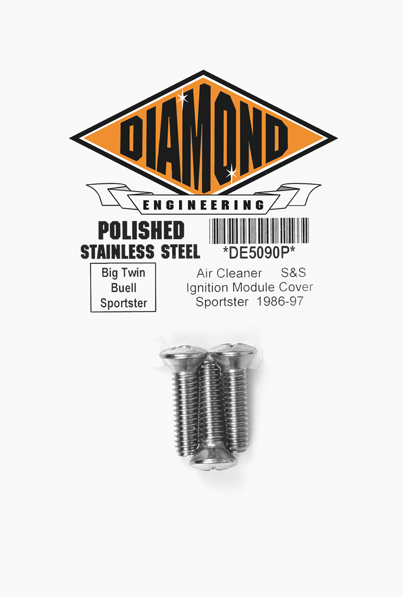 Diamond Engineering Polished Super G & E Air Cleaner Bolts For 70-76 Harley FLH