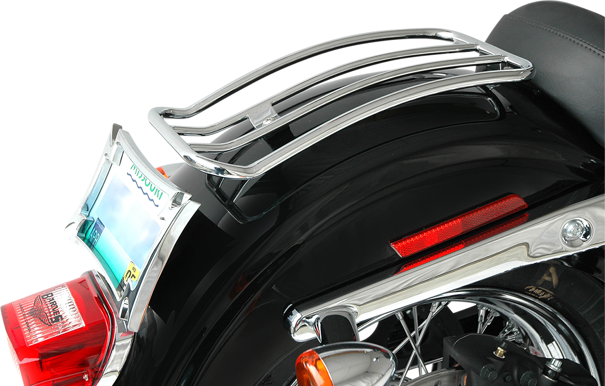 "Motherwell Chrome 7"" Rear Fender Luggage Rack for 16-17 Harley Dyna FXDLS"