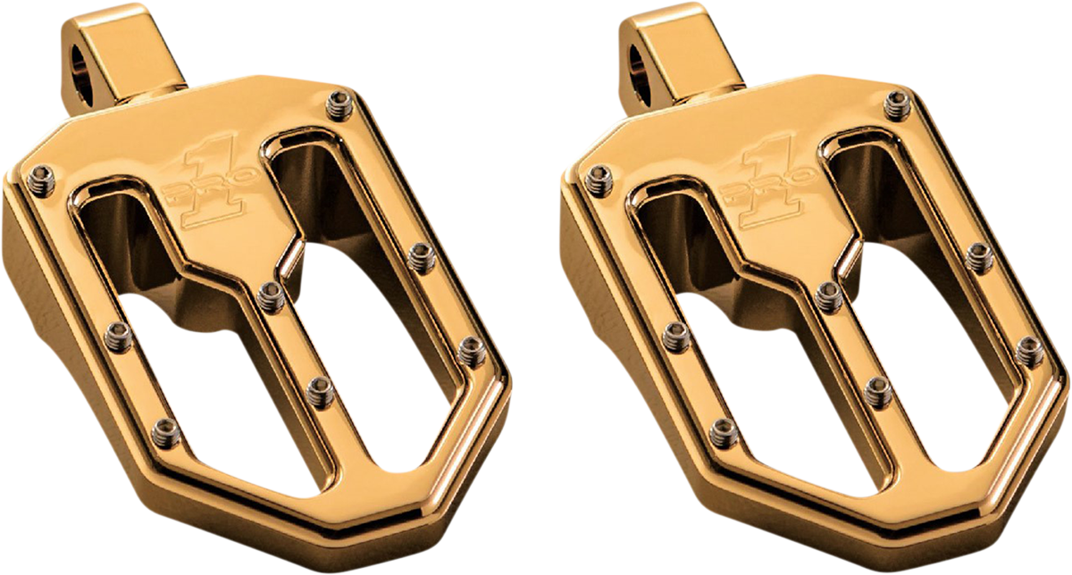 Pro One Moto V1 Gold Male Mount Motorcycle Footpegs 18-20 Harley Softail FLSL
