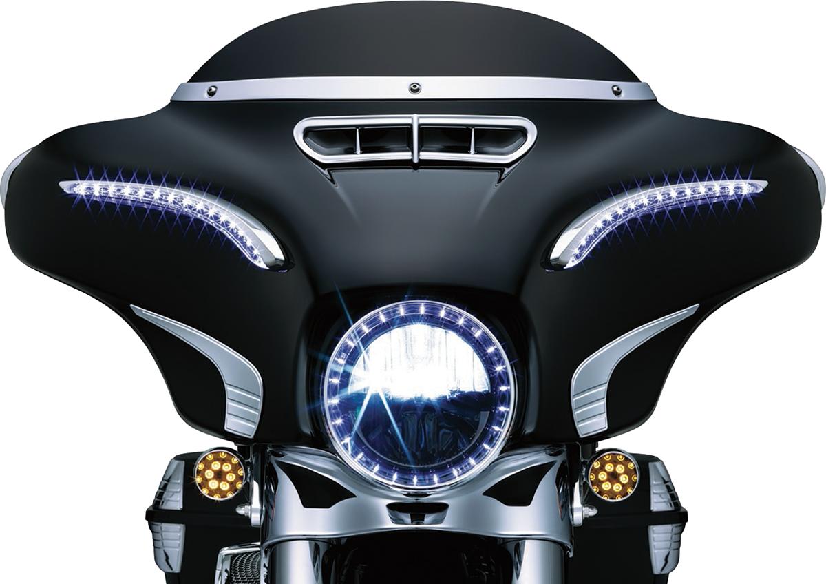 Kuryakyn 6904 Chrome LED Front Fairing Bat Lashes for 14-18 Harley Touring FLHX