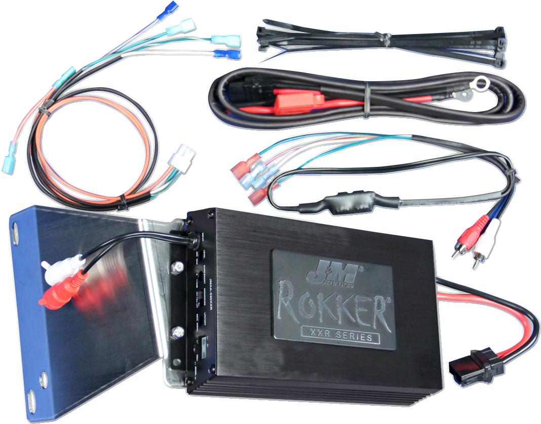 J&M Black Rokker 350 Watt Amplifier Kit for 06-13 Harley Touring Road Glide FLTR