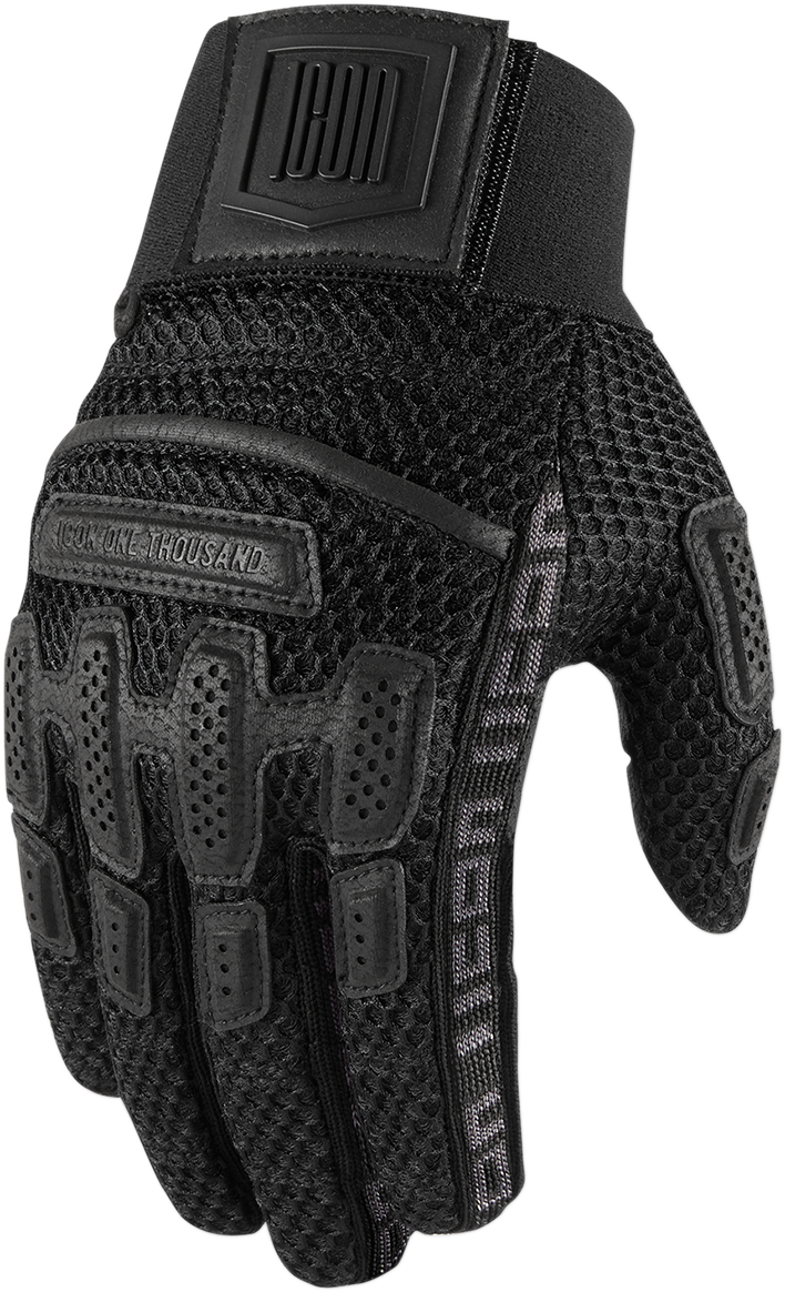 Icon Unisex Black Textile Brigand Motorcycle Riding Street Racing Gloves