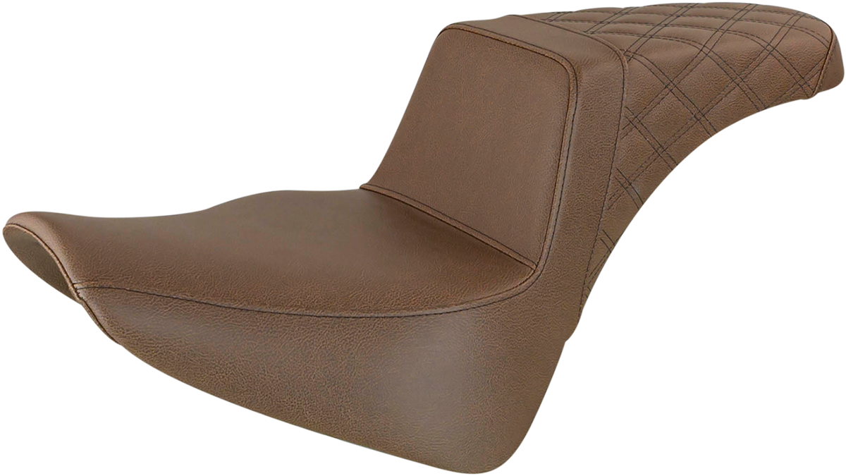 Saddlemen Step Up Brown Motorcycle 2-Up Seat 18-20 Harley Softail FLSL FLHC FLDE