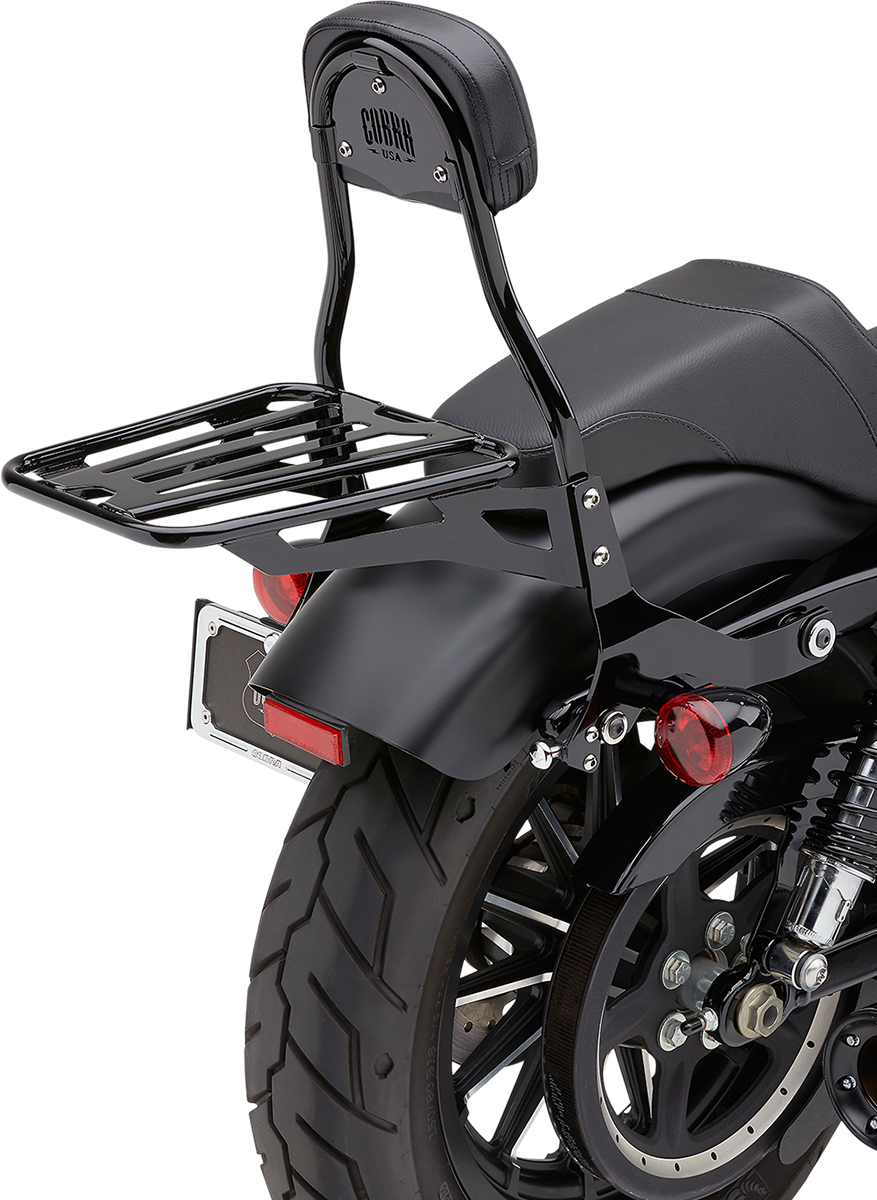 "Cobra Black 14"" Round Detachable Sissybar & Backrest Kit 04-19 Harley Sportster"