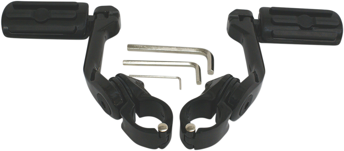 "Rivco Black Clamp on Highway Footpegs & 5"" Mounting Arms for Harley Davidson"
