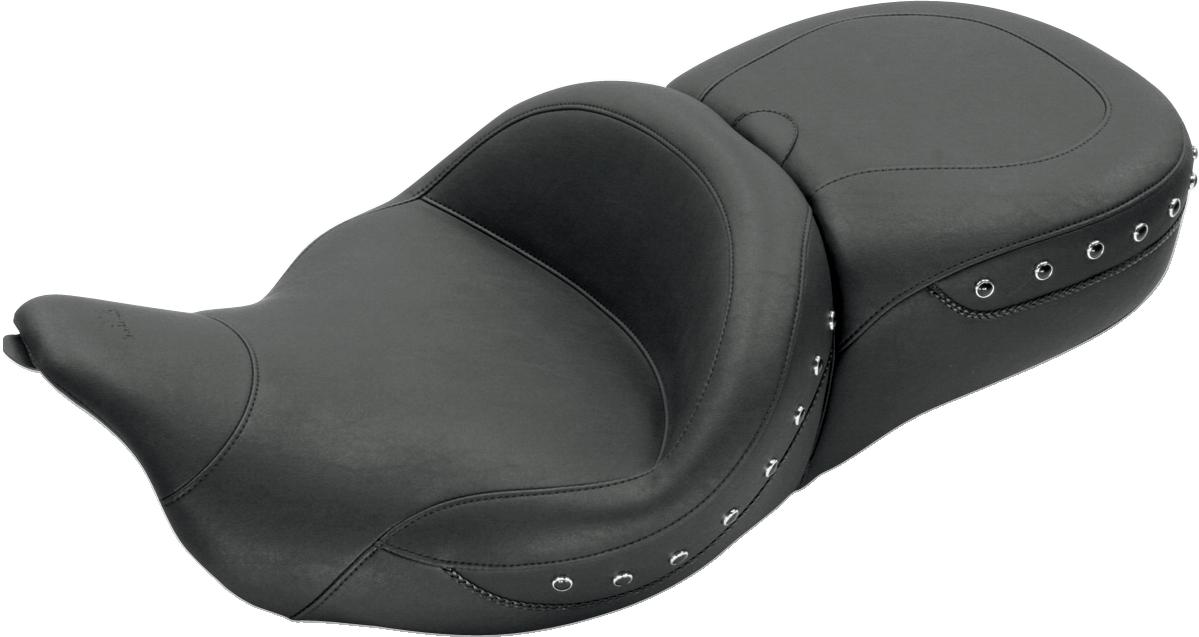 Mustang Black Studded Vinyl Seat 08-19 Harley Touring FLHR FLHX FLTRU FLHTKL