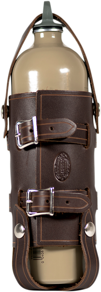 Nash Brown Leather Nickel Sling Quick Snap Universal 33oz Water Bottle Holder