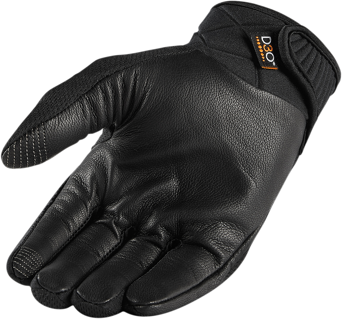 Icon Mens Textile Black Anthem 2 Stealth Motorcycle Riding Street Racing Gloves