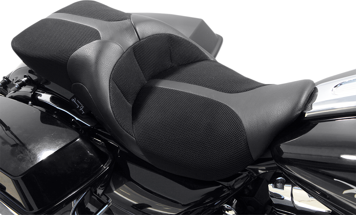 Danny Gray Black Leather TourIST Air Cell 2 up Seat for 08-19 Harley Touring
