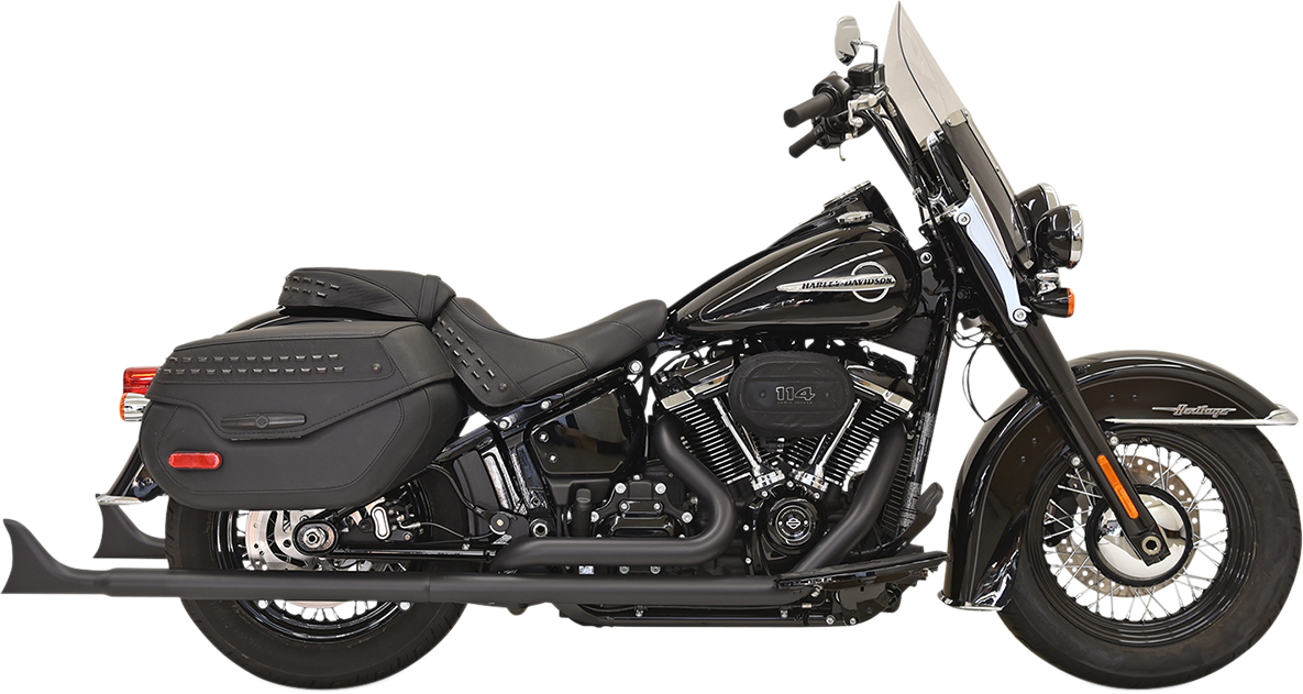 "Bassani 2-2 Black 33"" Fishtail Full Exhaust 18-19 Harley Softail FLDE DLHC"