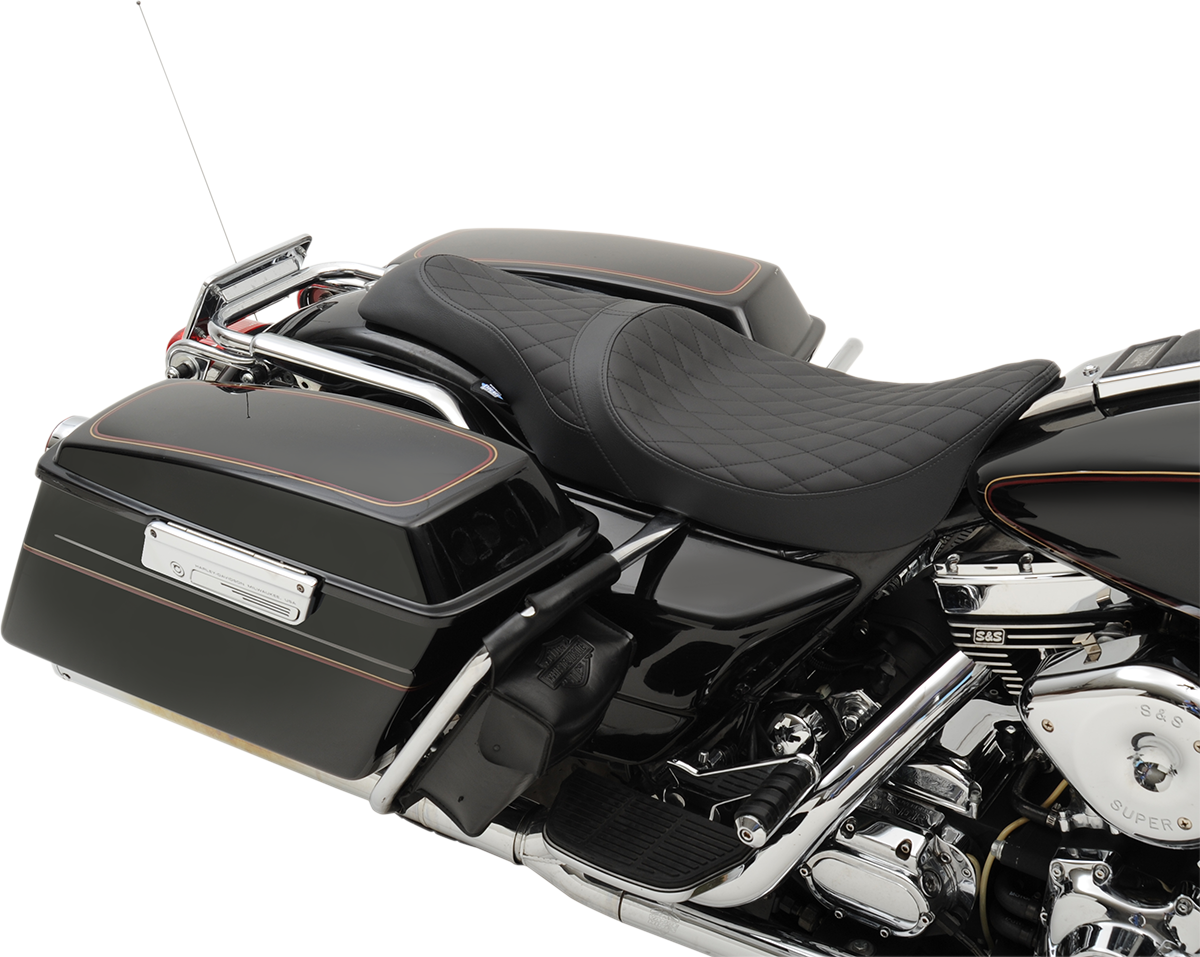 Drag Specialties Black Leather Caballero Diamond Seat for 97-07 Harley Road King