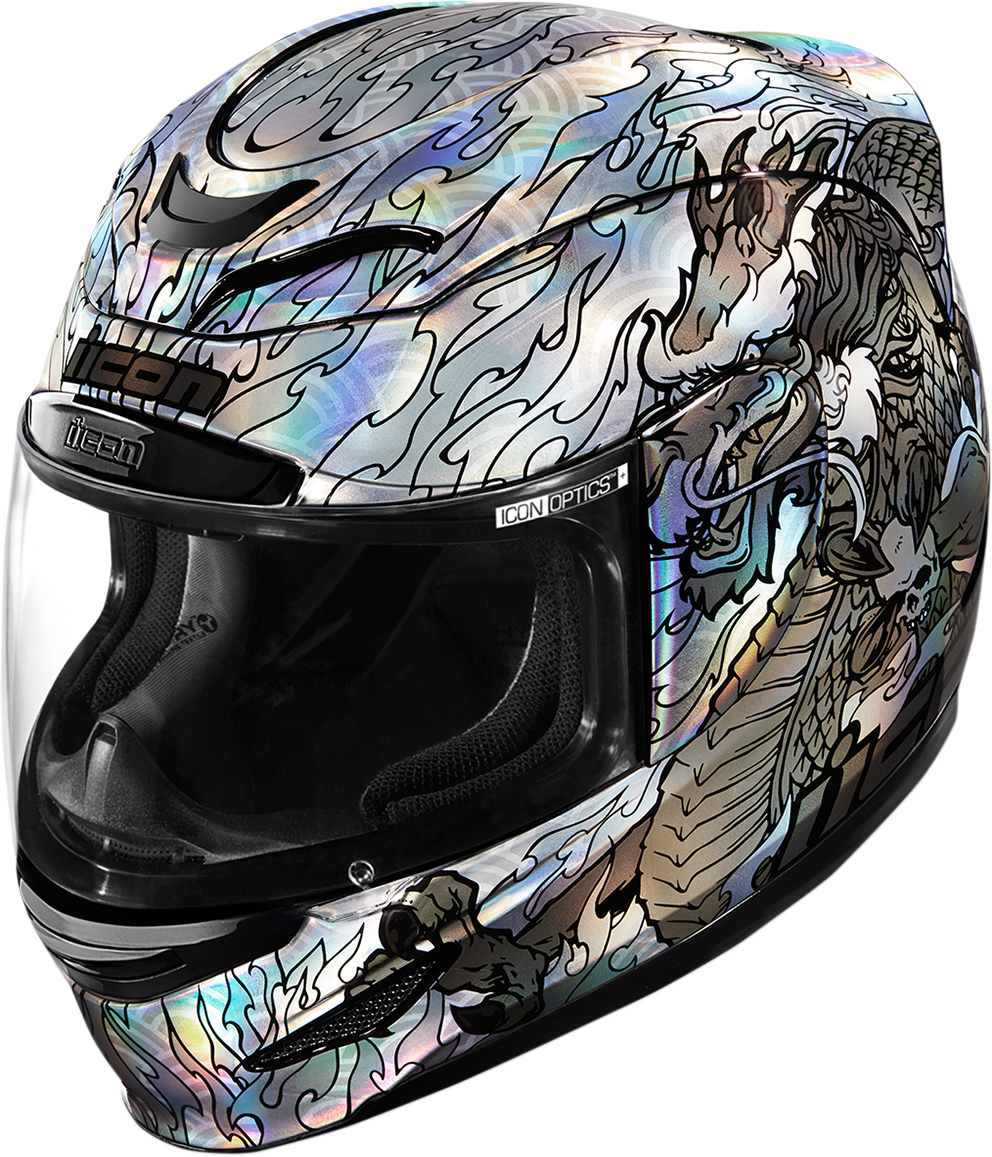 Icon Airmada Silver Legion Fullface Motorcycle Riding Street Racing Helmet