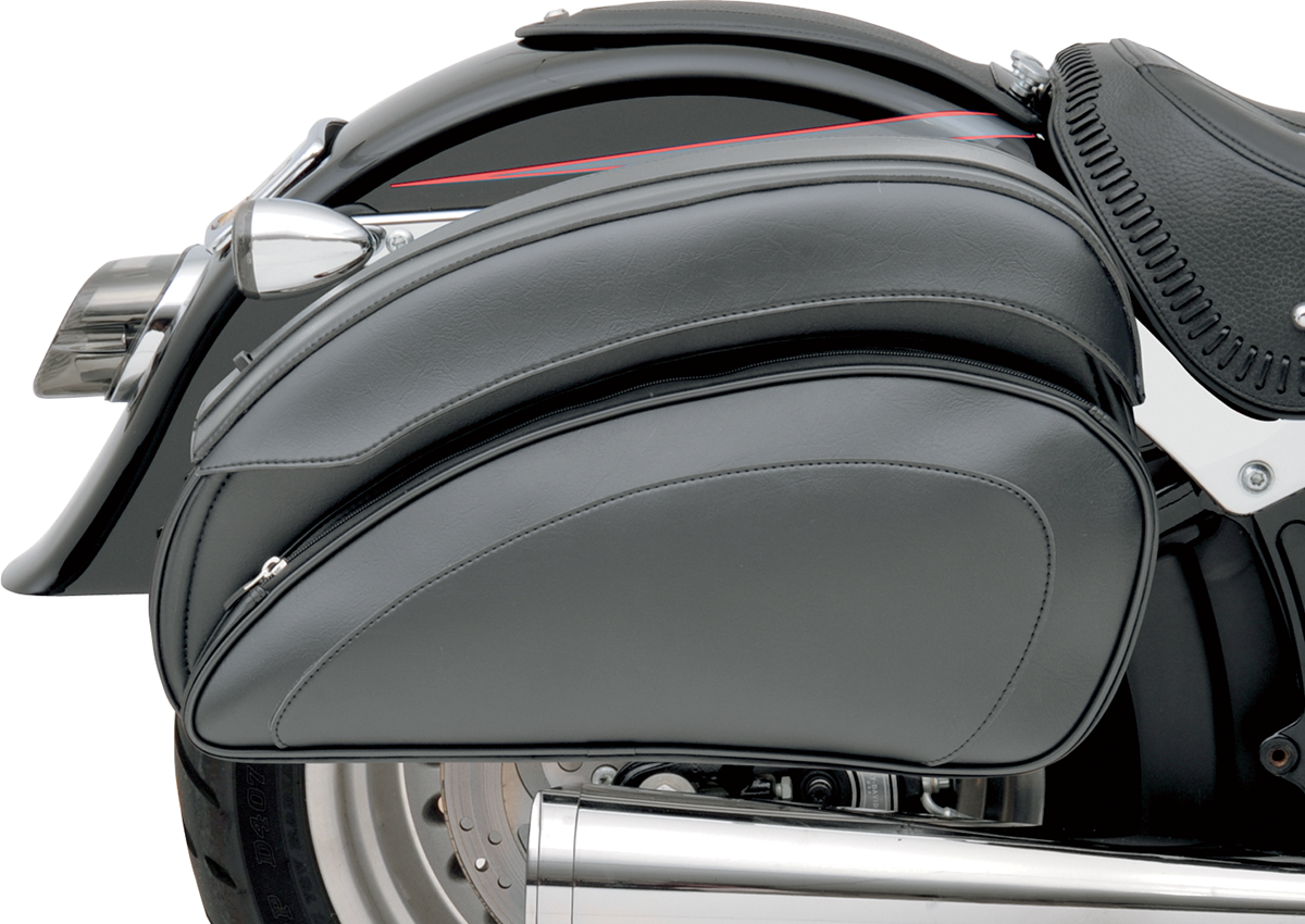 Saddlemen Black Leather Zipper Twist-lock Deluxe Saddlebags Harley FXST FXR FXD