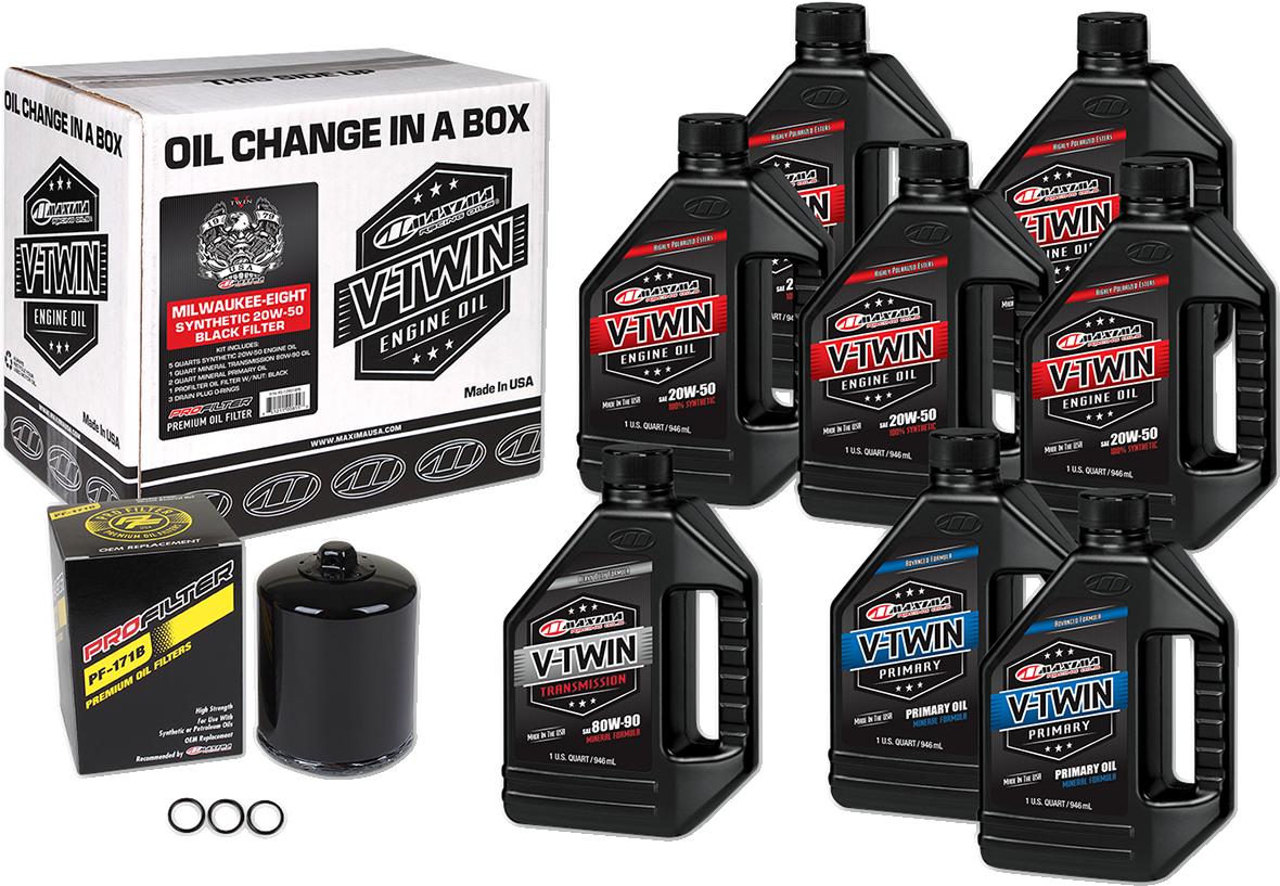 Maxima M8 Oil Change Kit & Black Filter for 17-20 Harley Touring Softail FLHX
