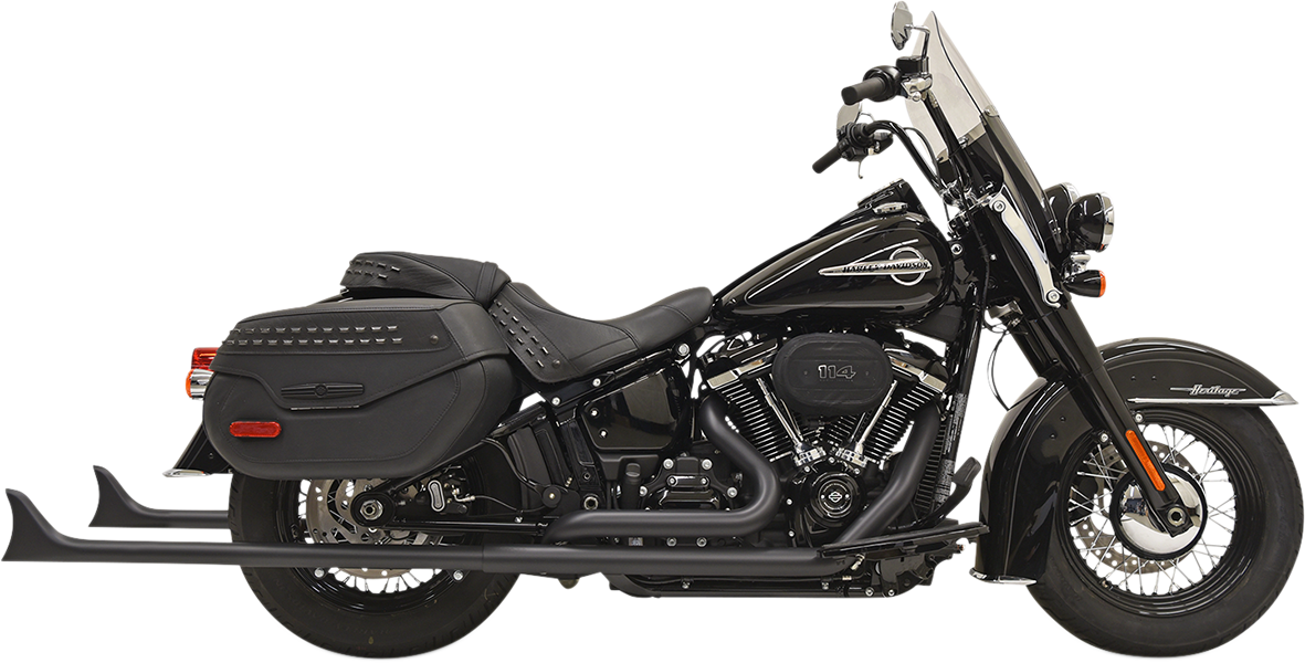 "Bassani 2-2 Black 39"" Fishtail 1-7/8 Full Exhaust 18-19 Harley Softail FLDE DLHC"