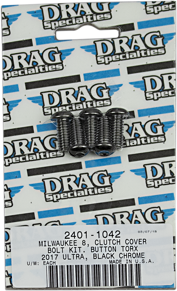 Drag Specialties Black Chrome 5 Pack M8 Clutch Cover Bolt Kit for 17-19 Harley