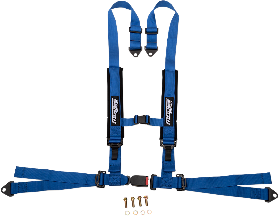 Moose Utility UTV Blue 4 Point Seat belt Harness Restraint Safety System