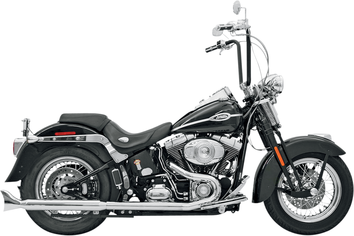 Bassani Chrome Hutch Special Dual Head Pipes for 99-17 Harley Softail FXS FLSTN