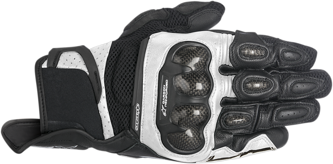 Mens Alpinestars Black White SP-X Air Carbon Motorcycle Street Racing Gloves