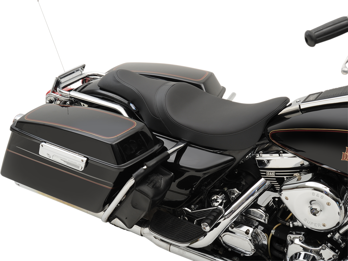 Drag Specialties Black Leather Caballero Plain Seat for 97-07 Harley Road King