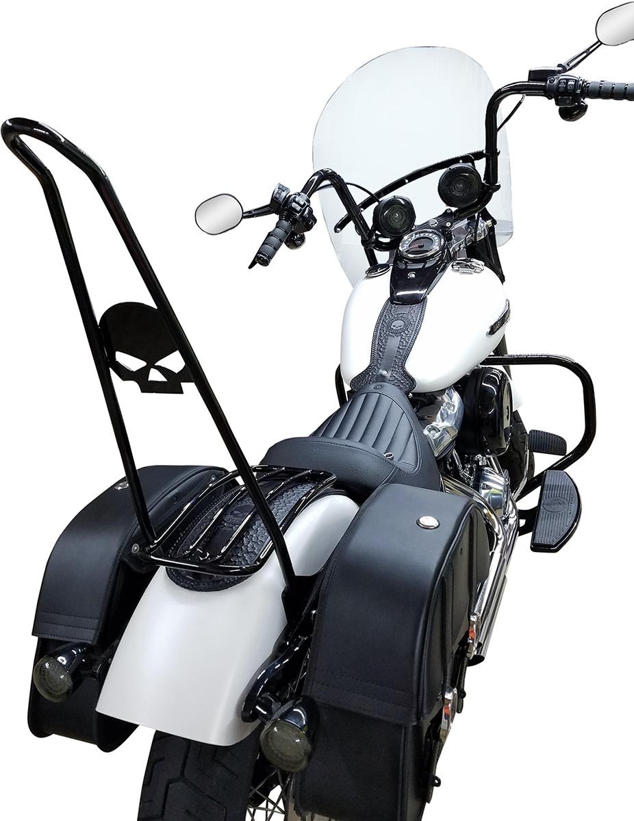 """Motherwell Matte Black 7"""" Rear Fender Luggage Rack for 16-17 Harley Dyna FXDLS"""