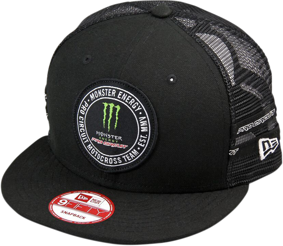 Pro Circuit Black Team Monster Energy Motocross Unisex Adult Snap Back  MX Hat